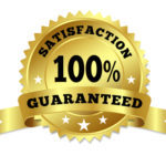 Vector gold circular label badge with text 100 percent satisfaction guaranteed, medal with ribbon and stars on white background.